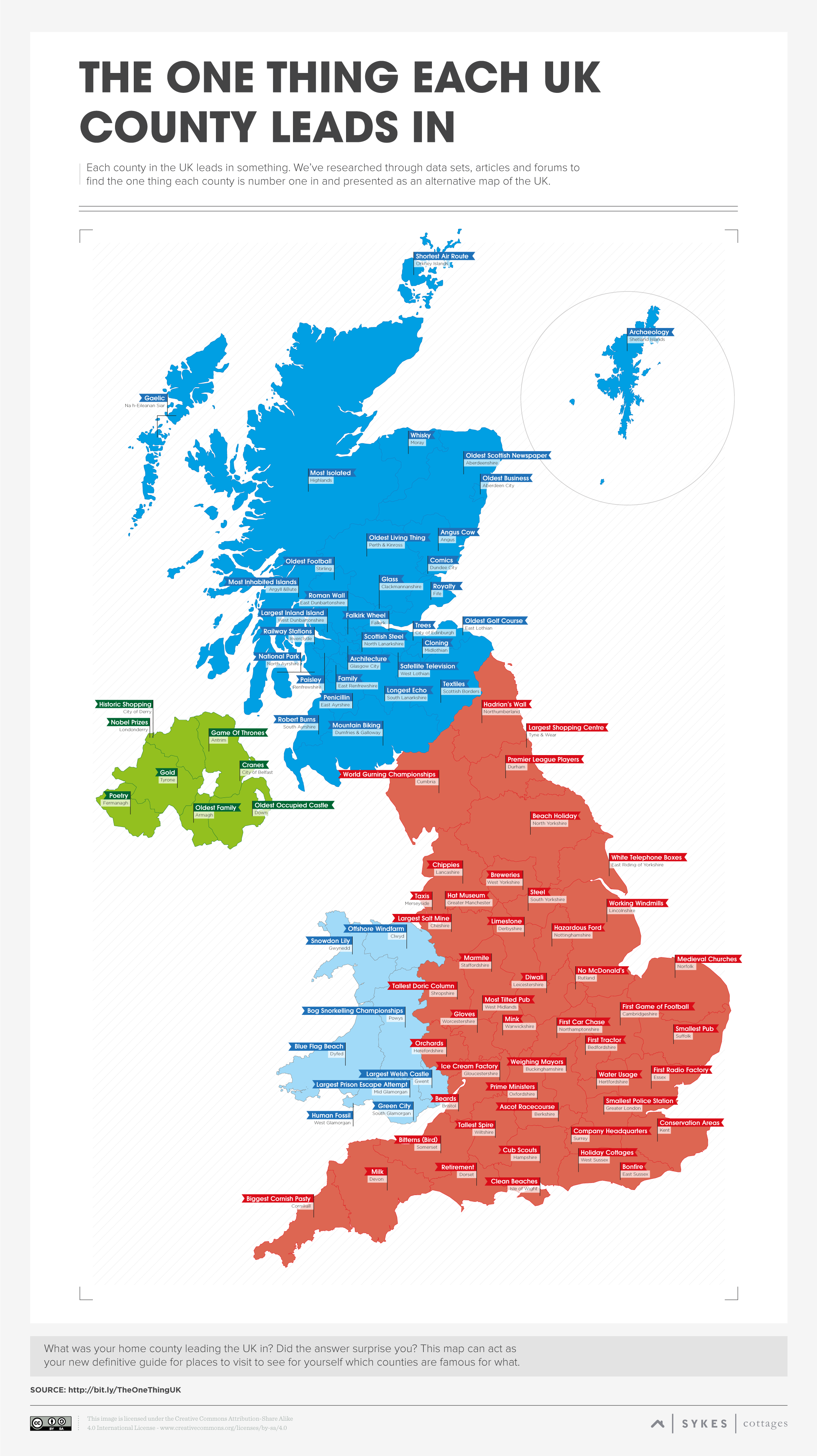 Map Of Uk Holiday Destinations.The One Thing Each Uk County Leads In Sykes Cottages