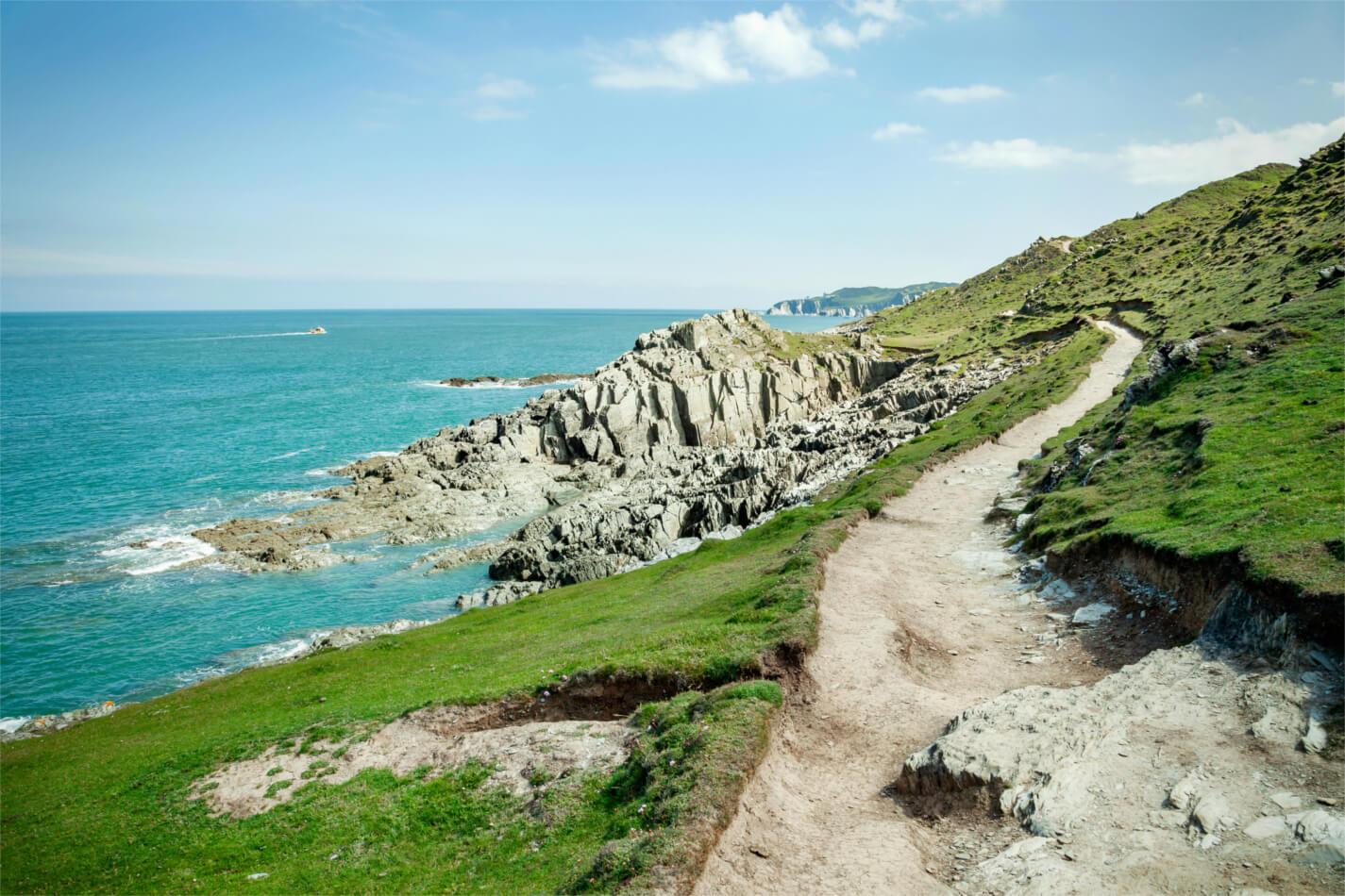 Walking path along Devon coast