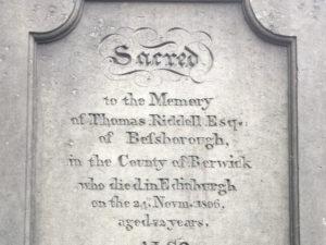 Thomas Ridell Grave stone Greyfriars Kirkyard
