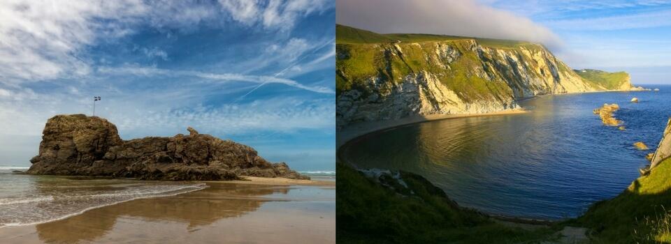 Cornwall Flag on Chapel Rock vs Jurassic Coast in Devon