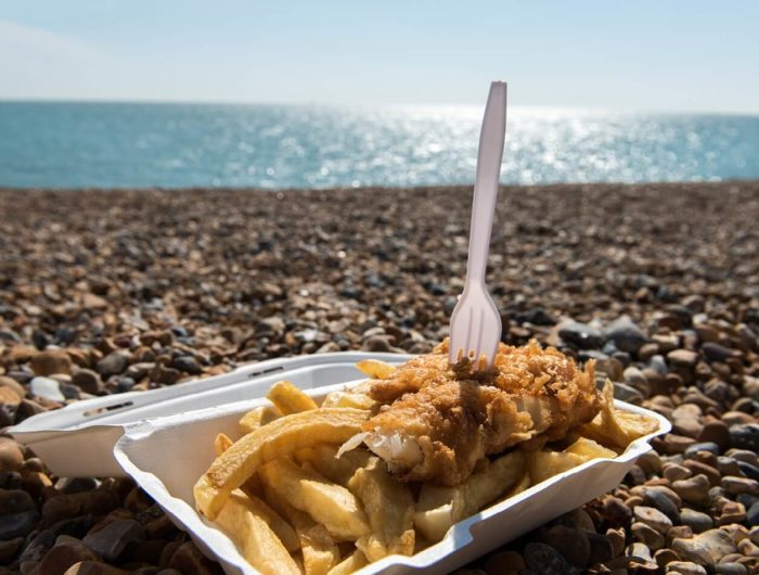 Fish and chips by the sea