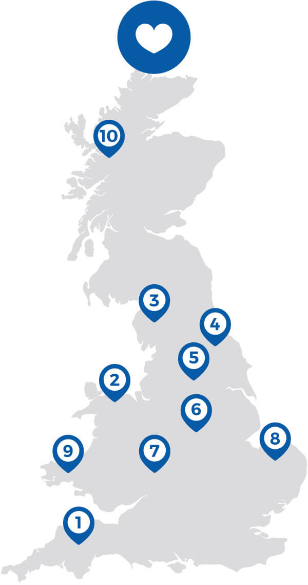 Top 10 most popular regions for a UK holiday