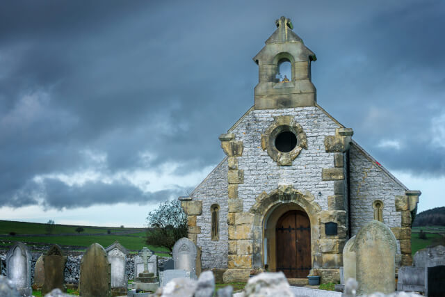 spooky church in peak district