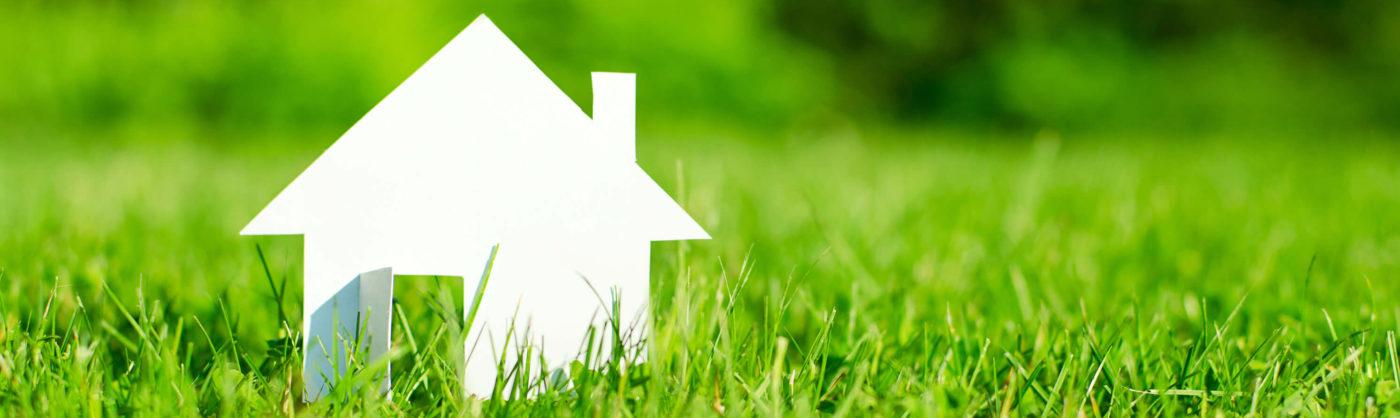 House in grass field