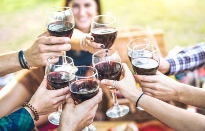 Red wine celebration