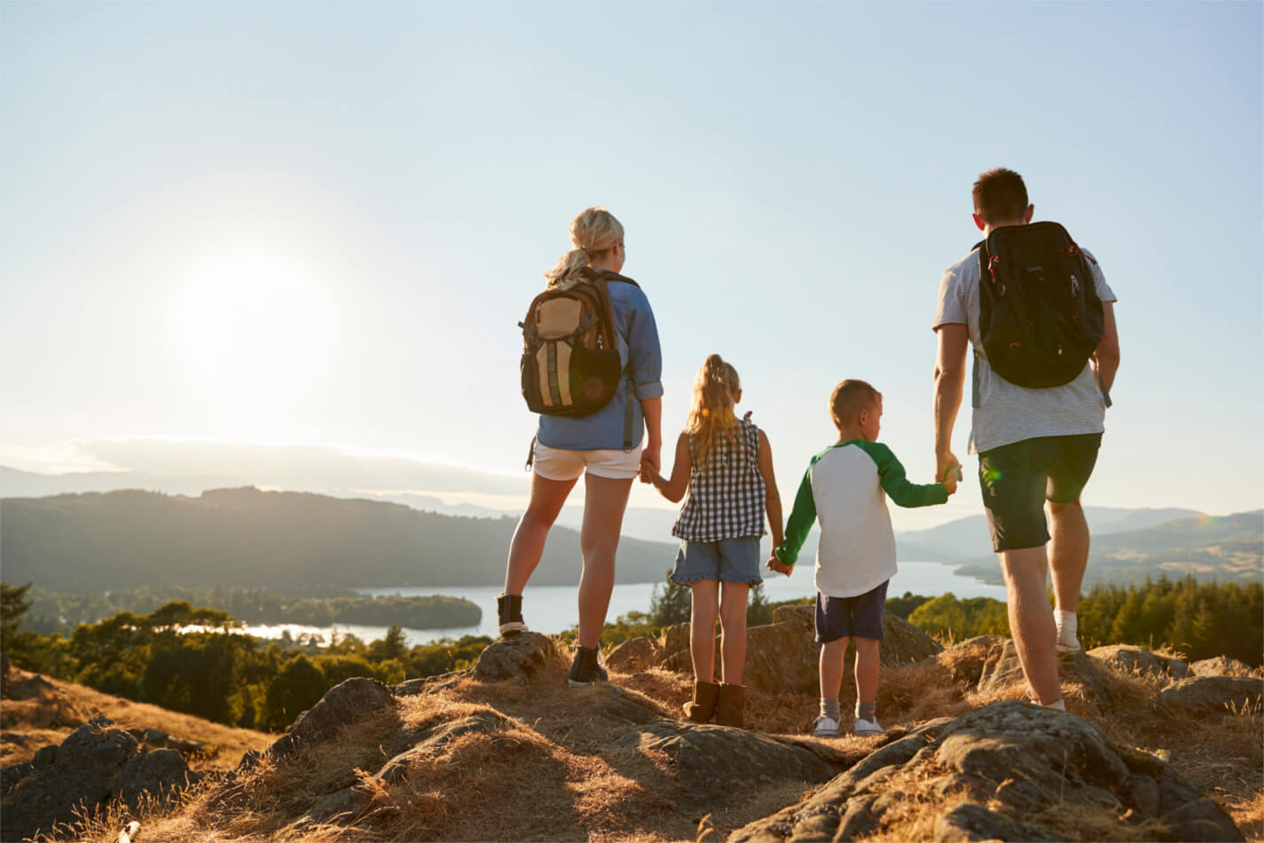 Family on walking holiday