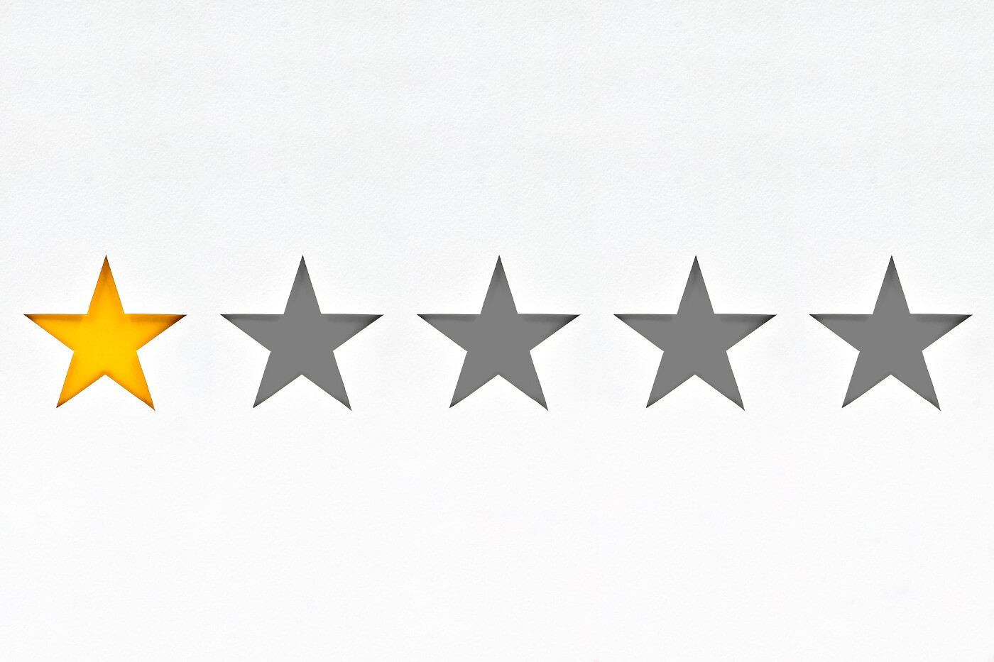 An image of 5 stars with one filled in yellow to show a 1 star review
