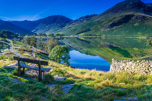 Bench overlooking Buttermere Lake in the Lake District, Cumbria