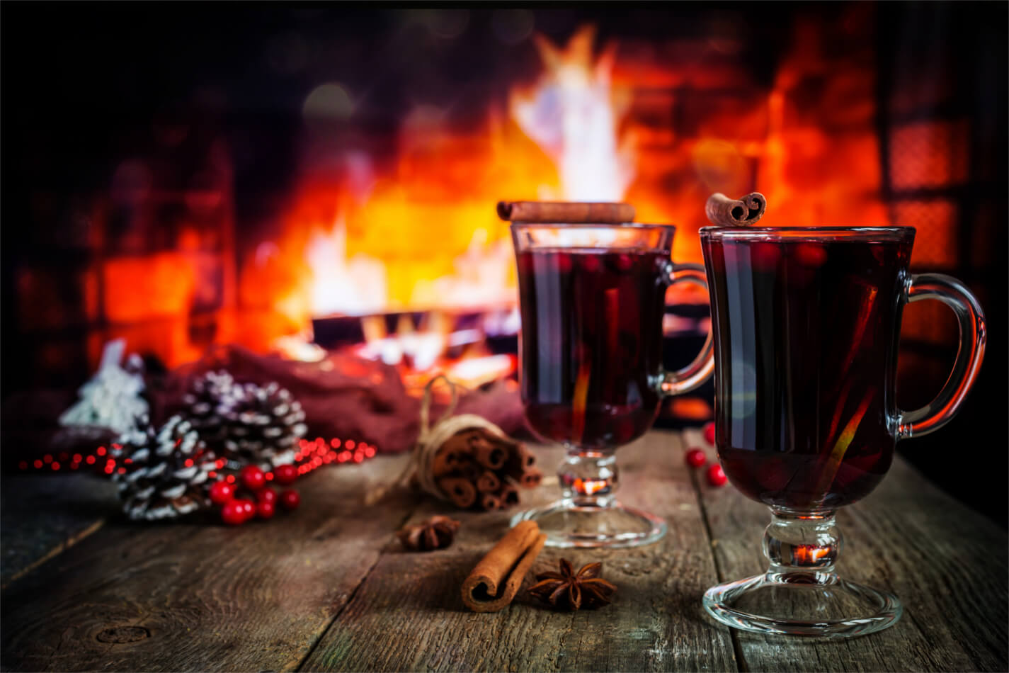 Mulled wine by an open fire
