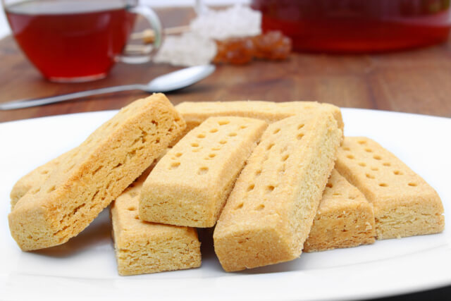 pieces of shortbread on white plate
