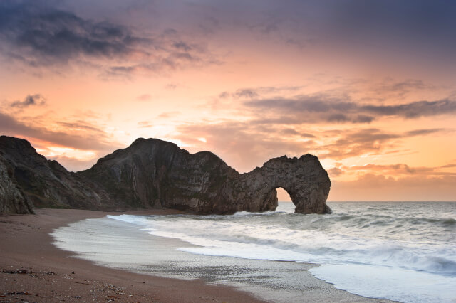 sunset at Durdle Door in Dorset