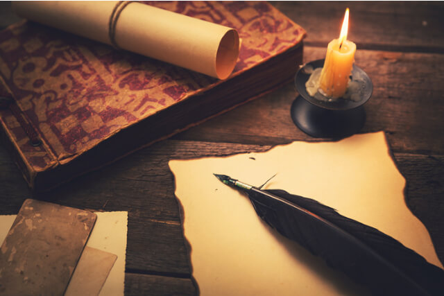 Vintage paper and quill