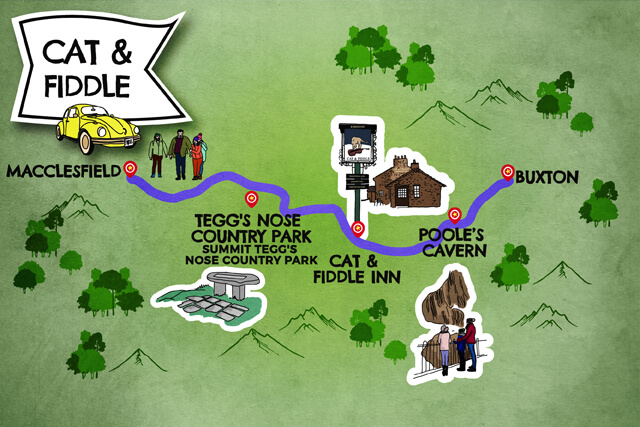 Cat & Fiddle road trip map