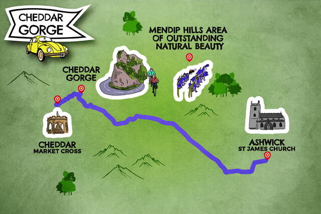 Cheddar Gorge road map