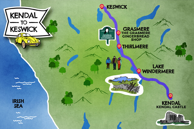 Kendal to Keswick map