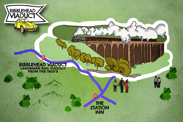 Ribblehead Viaduct road map