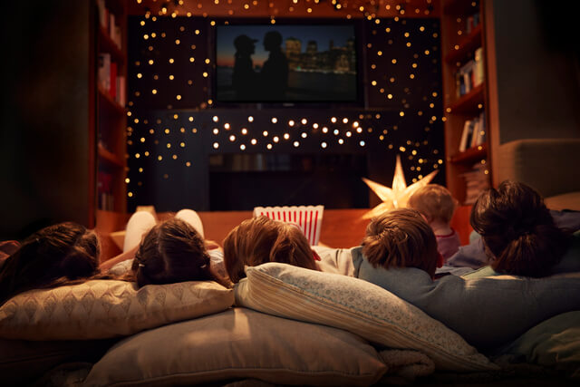 At home cinema night