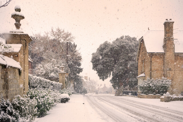 Mickleton high street in winter, Chipping Campden, Cotswolds