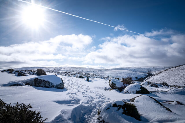 Snowy Dartmoor view from just outside Mortenhampstead