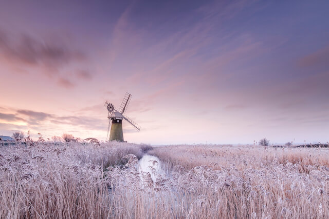 St Bennets Mill at sunrise on the Norfolk Broads