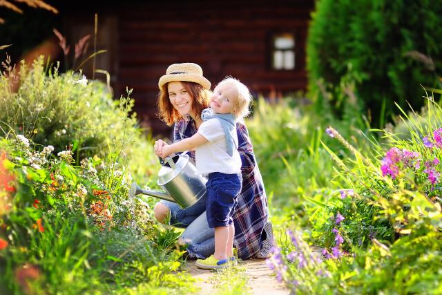 family enjoying their garden