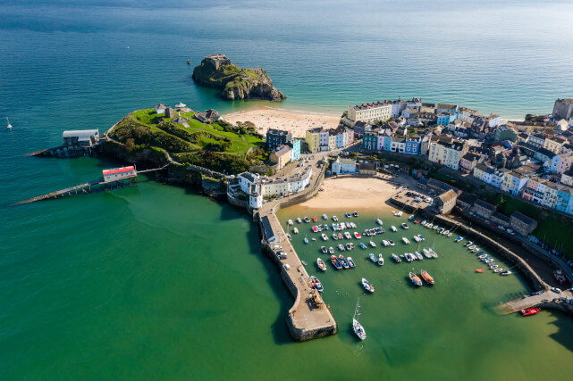 Aerial view of the harbour in Tenby