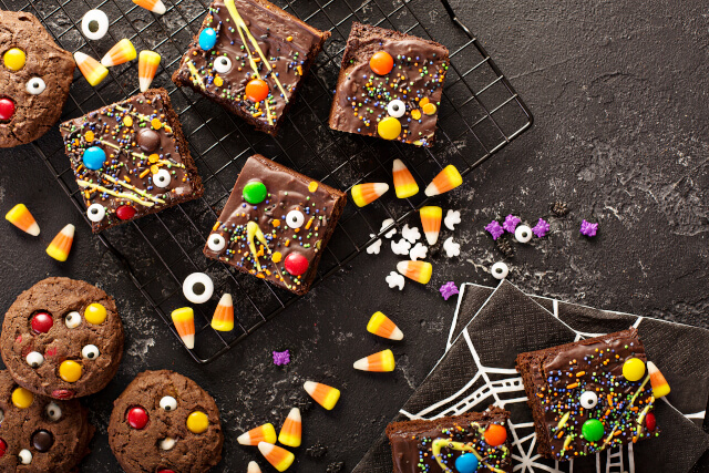 Monster brownies with candy and sprinkles