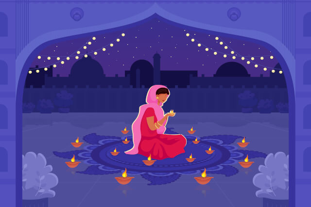Woman in Sari with Diya Candles