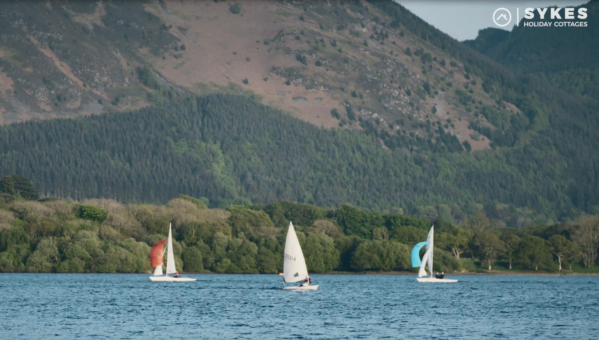 Sail boats on a lake in the lake district