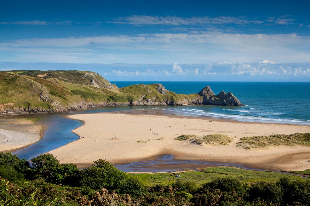 three cliffs bay beach wales