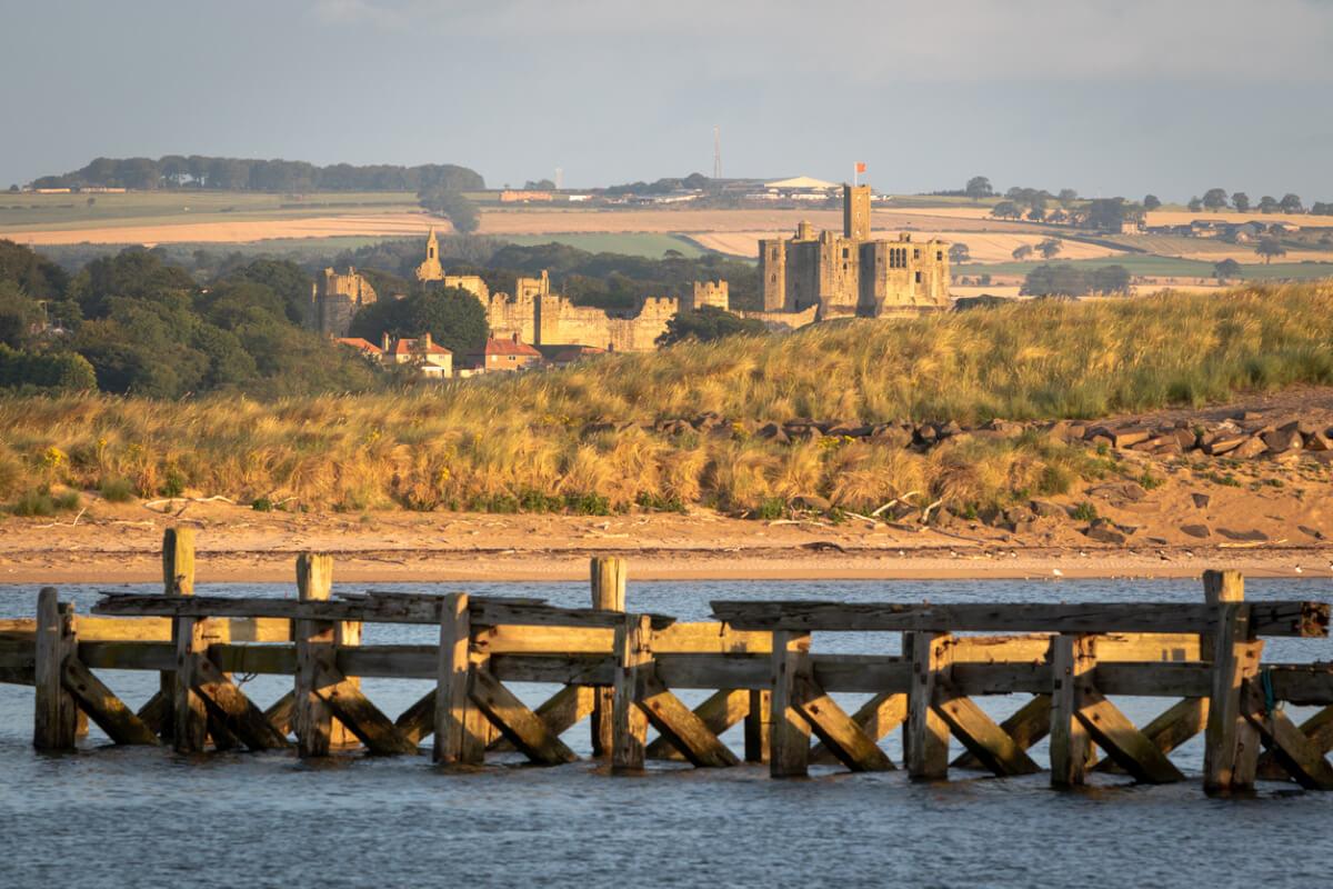 warkworth castle view northumberland