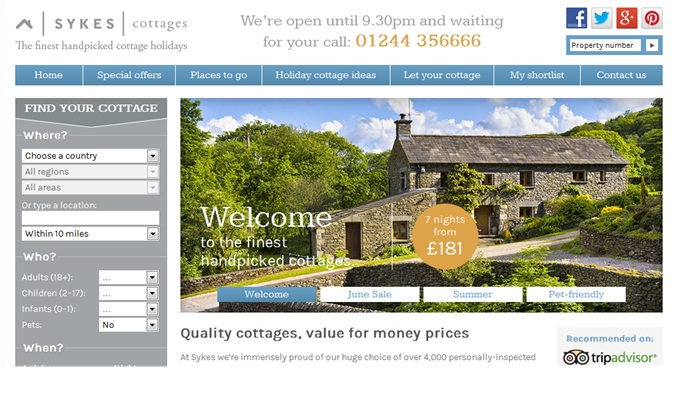 new Sykes Cottages website