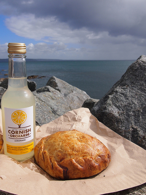 Cornish pasty and lemonade