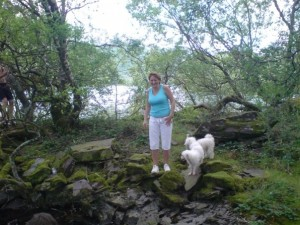 Michelle and the dogs at Llanberis Lake