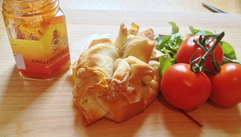 haggis and goats cheese filo parcels