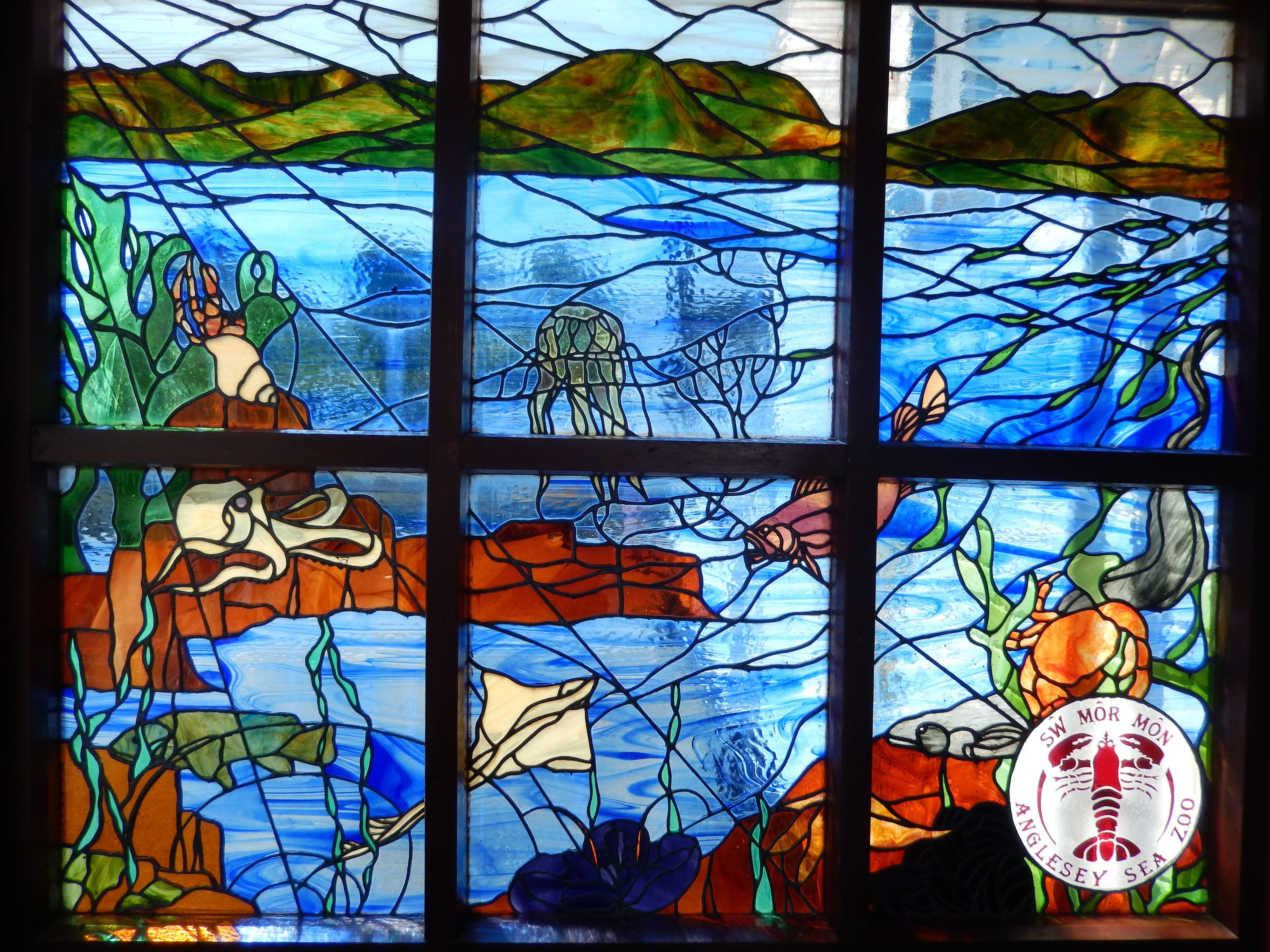 Beautiful stained glass windows at Anglesey Sea Zoo