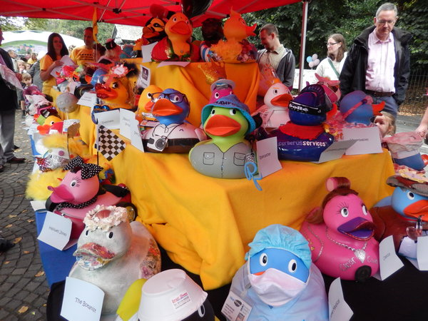 The corporate ducks on display before the big race.