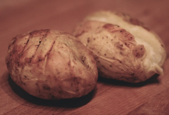 A picture of Jonathan's delicious jackets; made with potatoes straight from his father's farm - yum!