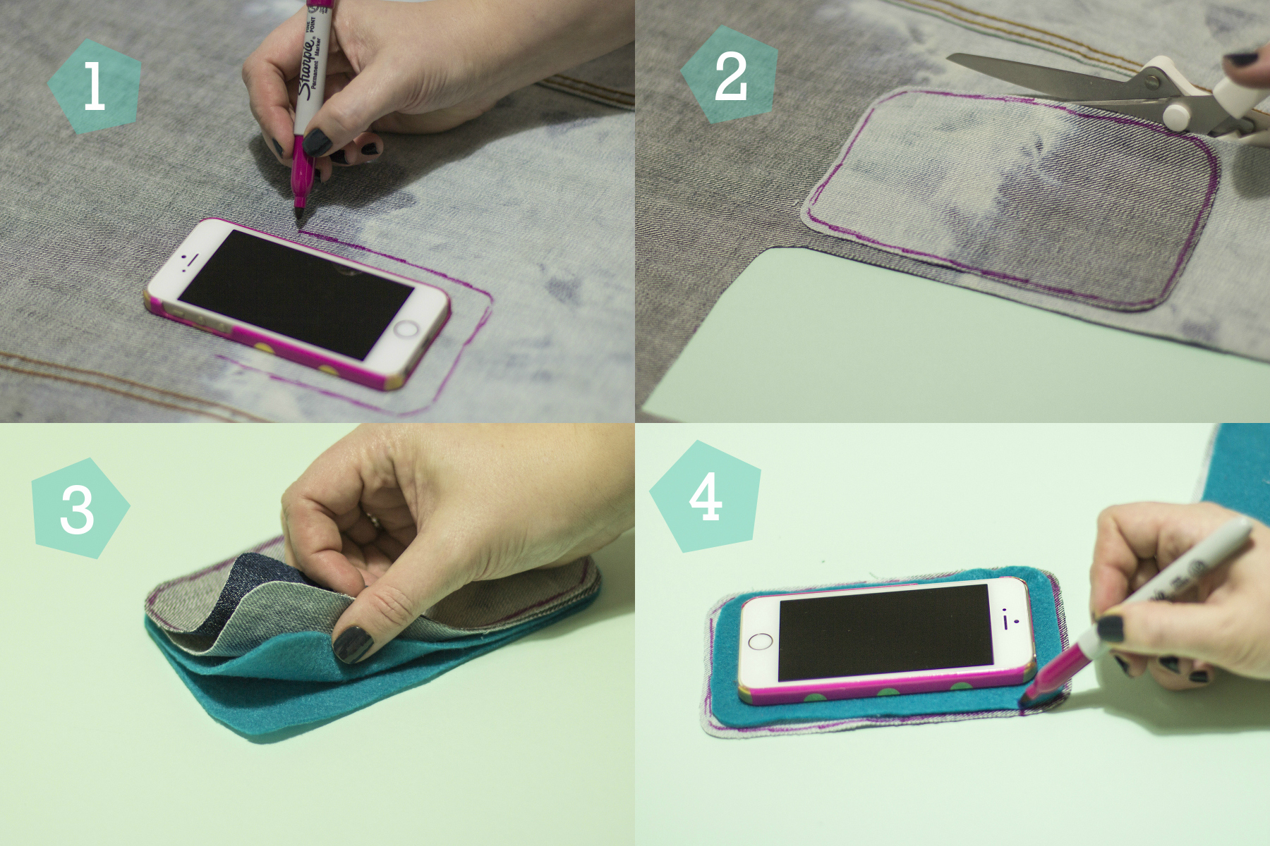 Simple Craft Tutorial: Upcycled Phone Case Steps 1-2-4