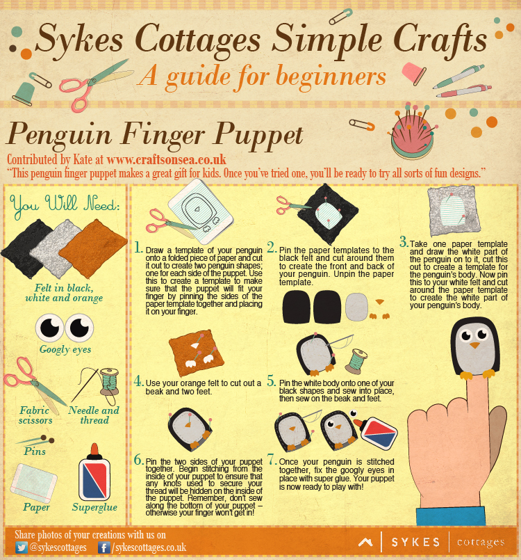 Sykes Cottages Simple Craft Guide: Penguin Finger Puppets