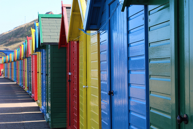 beach huts whitby by athriftymrs.com | CC 2.0