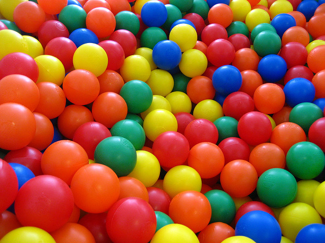 Colourful balls from a children's ball pit