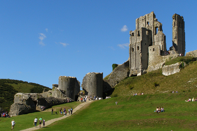 Corfe Castle in the sunlight