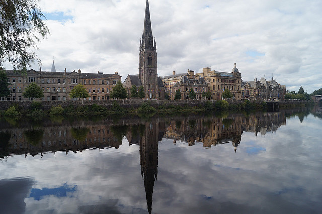 Perth from the River Tay in Perthshire