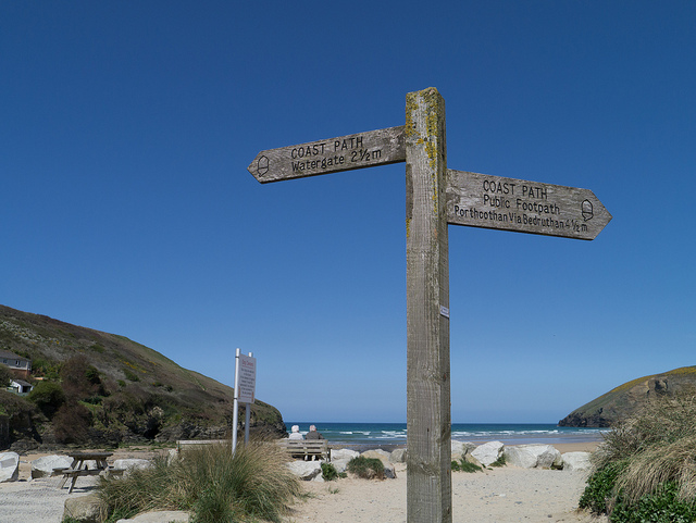 Mawgan Porth beach Coastal Path sign