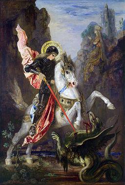 St George - Patron saint of England slaying a dragon